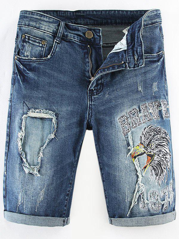 Fancy Distressed Destructed Embroidery Straight Denim Shorts