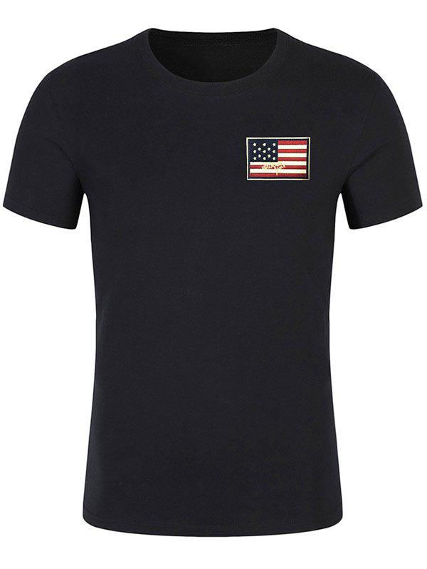 Online Chest Patriotic American Flag Panel Tee Shirt