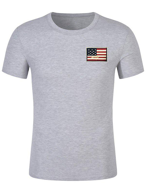 Fashion Chest Patriotic American Flag Panel Tee Shirt
