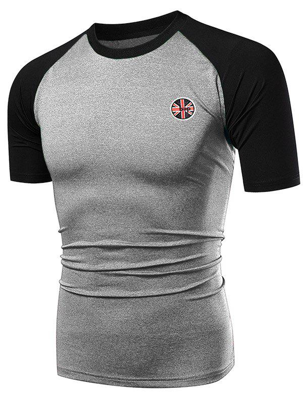Latest Fast Dry Applique Contrast Color Breathable Activewear T-shirt