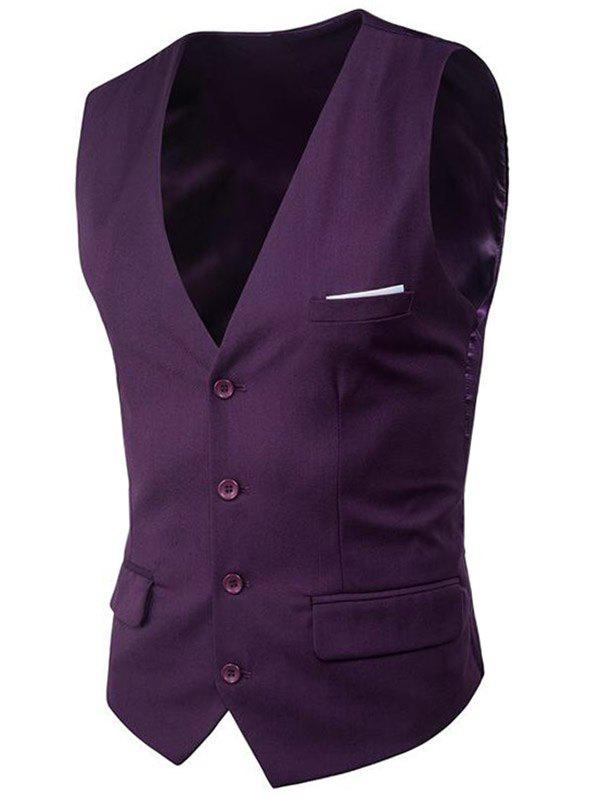 Hot Modern Solid Color Fit Suit Separates Vest