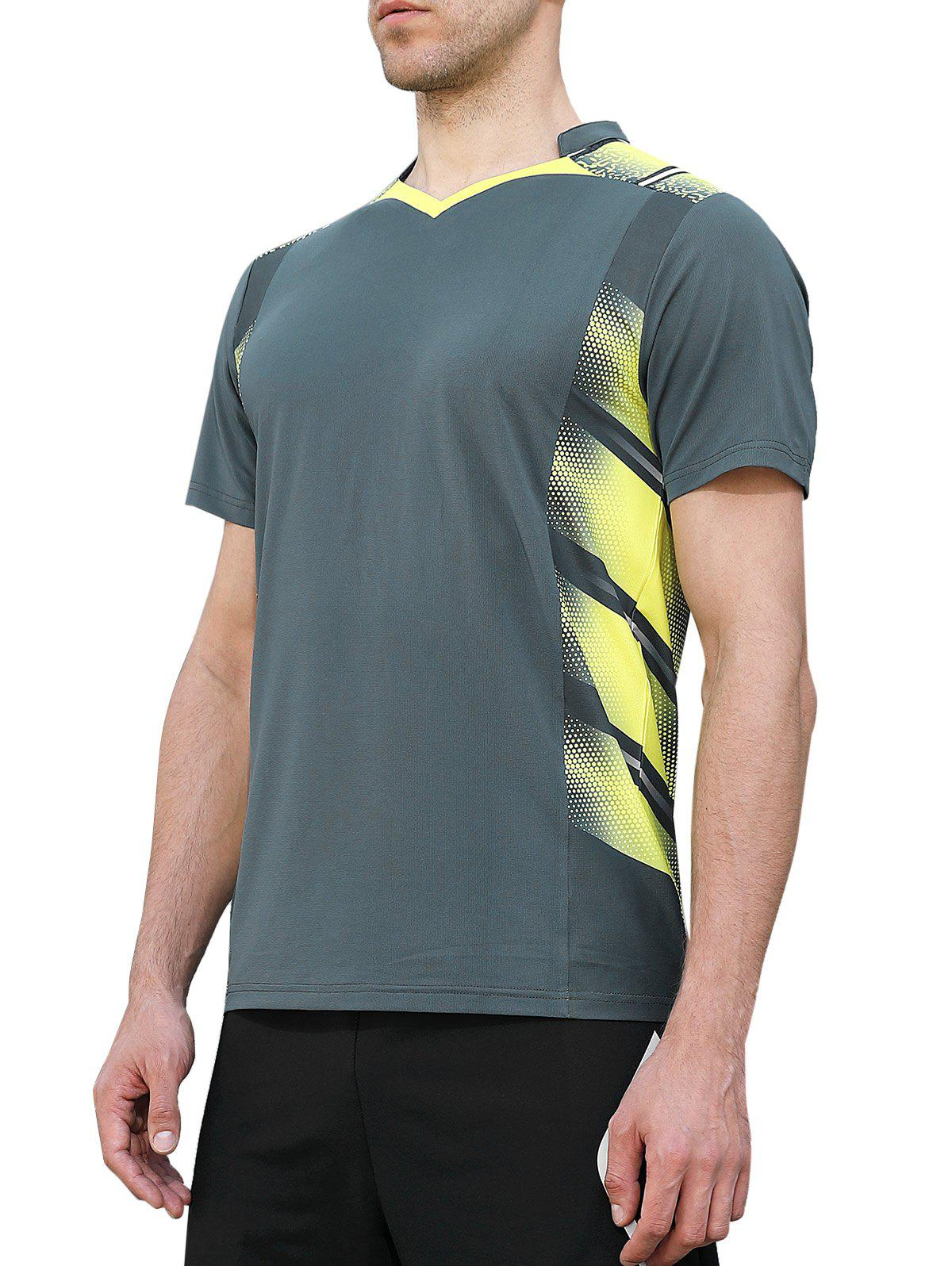 New V Neck Geometric Print Quick Dry Sports T-shirt