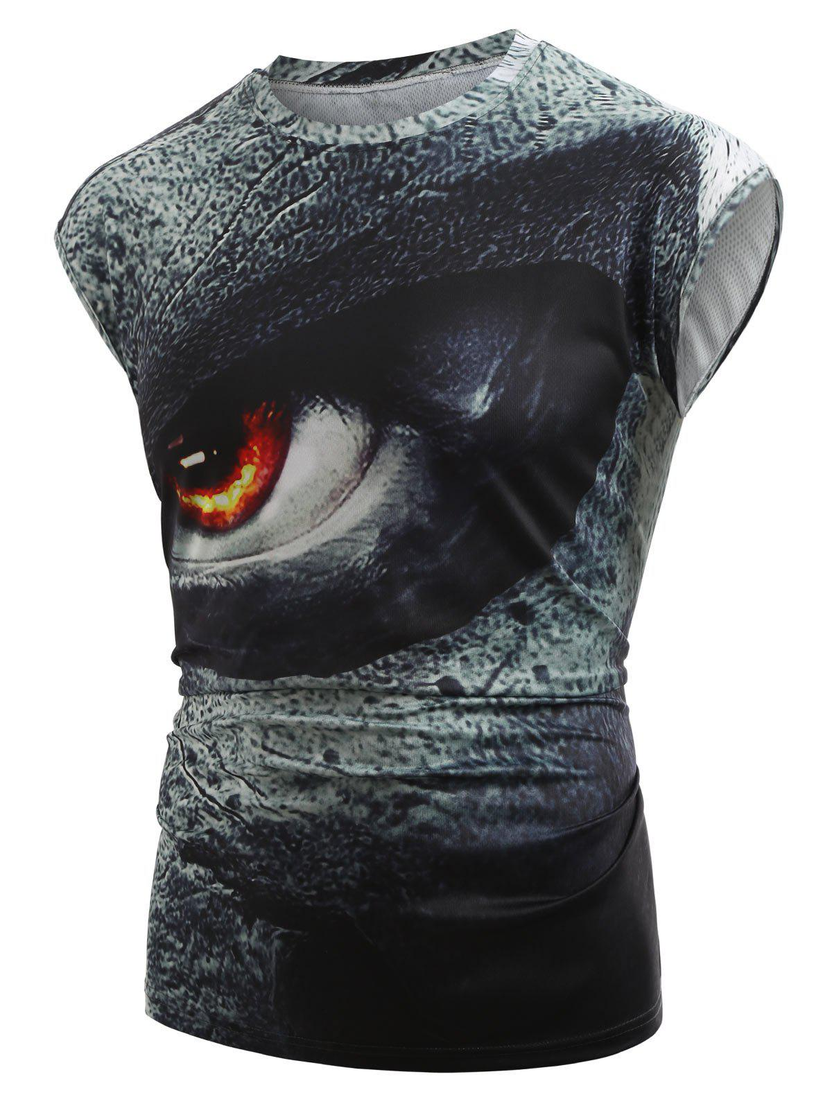 Cheap 3D Angry Eyes Print Tank Top