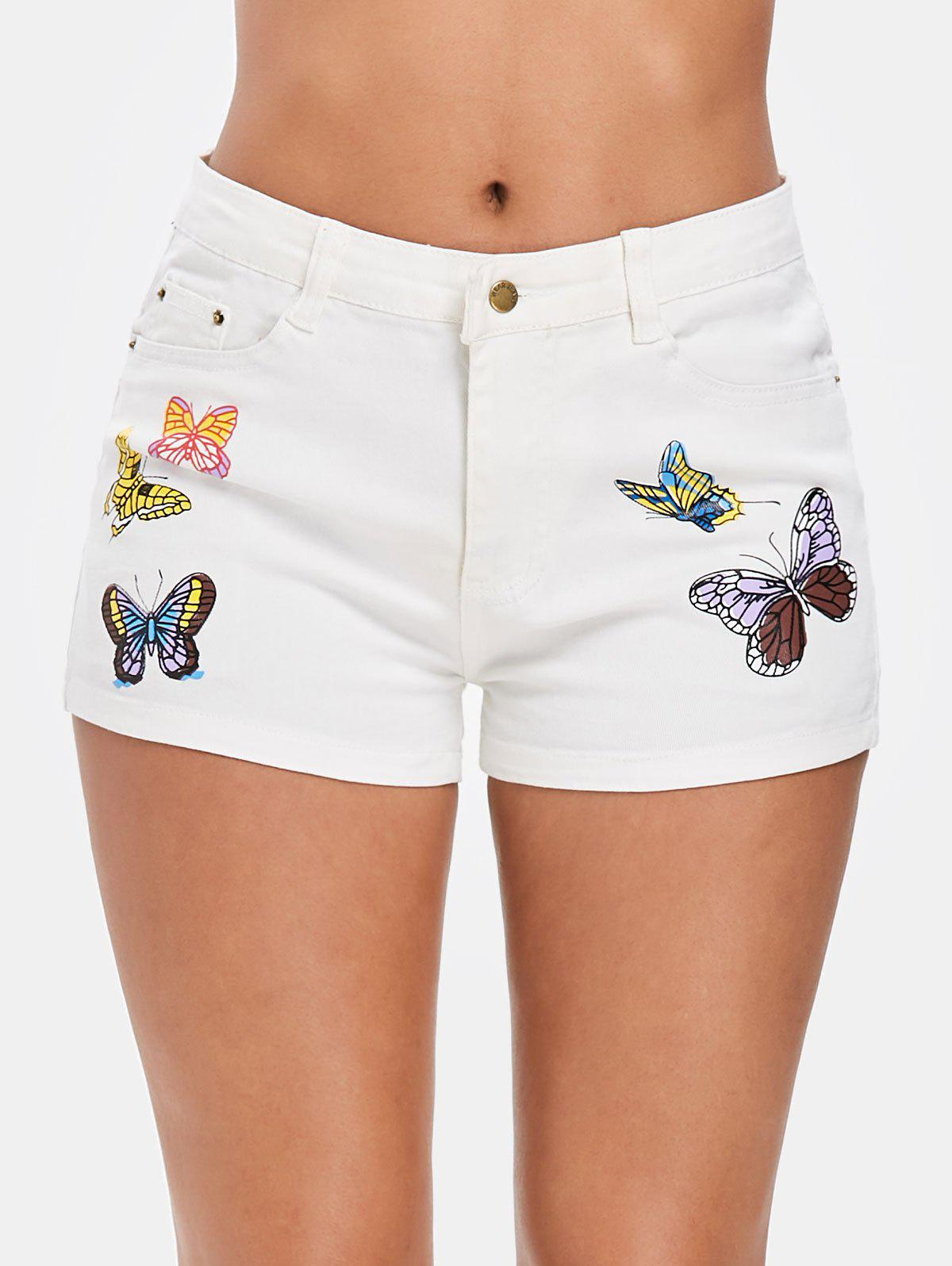 Store Butterfly Print Zipper Fly Denim Shorts