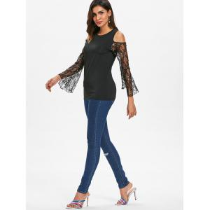 Lace Flare Sleeve Cold Shoulder Top -