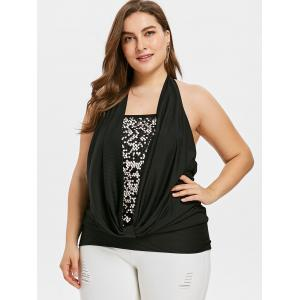 Plus Size Cowl Front Sparkly Tank Top -