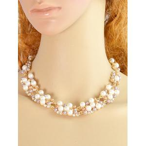 Artificial Pearl Rhinestone Decoration Necklace Earrings Set -