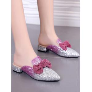 Plus Size Pointed Toe Block Heel Glitters Bow Mules Shoes -