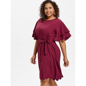 Plus Size Scalloped Butterfly Sleeve Dress -