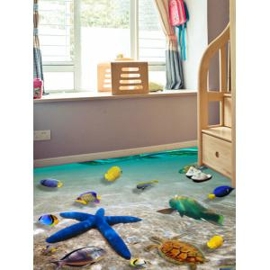 3D Starfish Printed Removable Decor Floor Sticker -