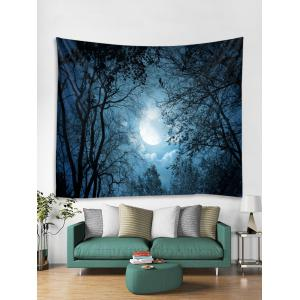 Moon Night Forest Print Wall Decorative Tapestry -