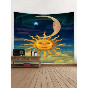 Sun and Moon Face Print Wall Hanging Art Tapestry -