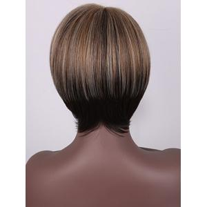 Short Side Bang Colormix Straight Synthetic Wig -