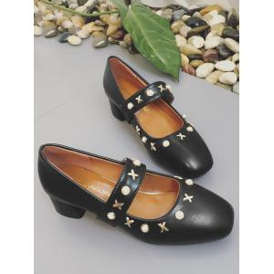 Plus Size Square Toe Faux Pearls Metallic Leisure Pumps -