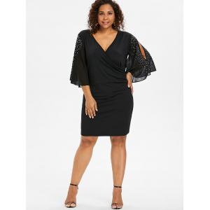 Plus Size Rhinestone Slit Sleeve Fitted Dress -