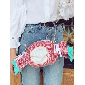 Metal Chain Candy Pattern Color Block Crossbody Bag -