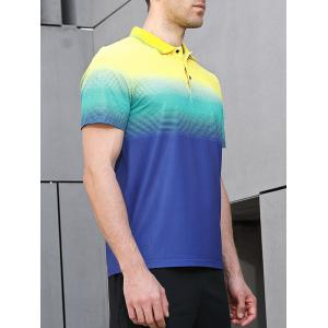 Horizontal Line Print Fast Dry Breathable Activewear Polo Shirt -