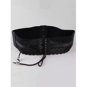 Retro Hollow Out Rhombus Fringed Wide Waist Belt -