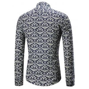 Long Sleeve Allover Artistic Print Shirt -