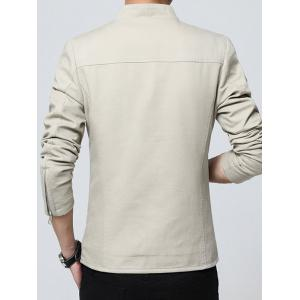 Zip Up Stand Collar Solid Color Jacket -