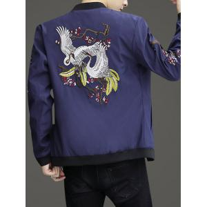 Zip Up Stand Collar Embroidery Crane Jacket -