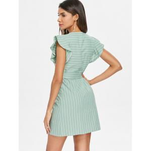 Short Sleeve Striped Dress with Belted -