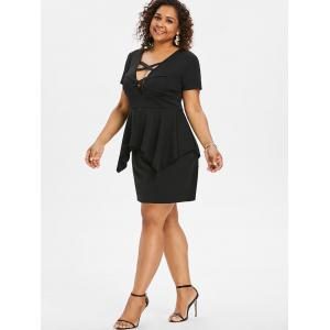 Plus Size Handkerchief Overlay Sheath Dress -
