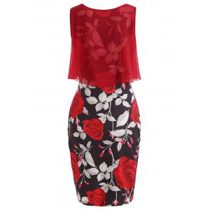 Overlay Floral Print Bodycon Dress -