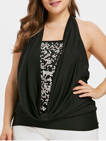 Latest Plus Size Cowl Front Sparkly Tank Top