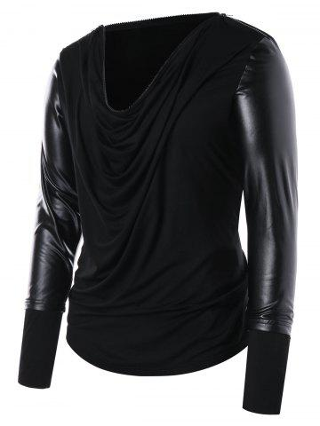 Sale Zip Collar PU Leather Panel T-shirt
