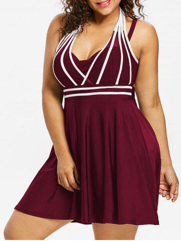 Plus Size String Skirted One Piece Swimsuit - Red Wine - 5x