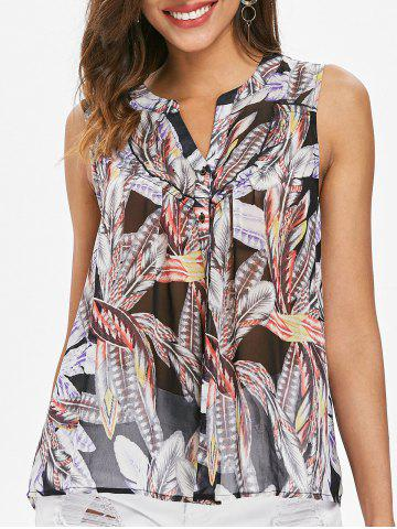 Trendy Feather Pattern Sheer Tank Top