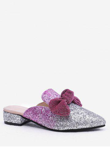 Store Plus Size Pointed Toe Block Heel Glitters Bow Mules Shoes