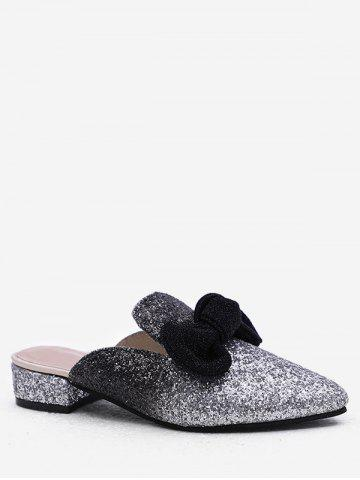Discount Plus Size Pointed Toe Block Heel Glitters Bow Mules Shoes