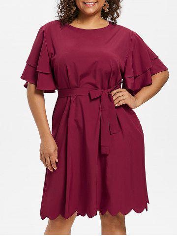 Cheap Plus Size Scalloped Butterfly Sleeve Dress