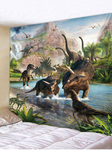 Different Jurassic Dinosaurs Print Hanging Tapestry - Multi - W118 Inch * L79 Inch