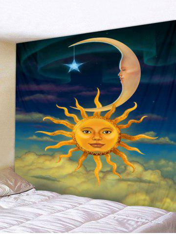 Shop Sun and Moon Face Print Wall Hanging Art Tapestry
