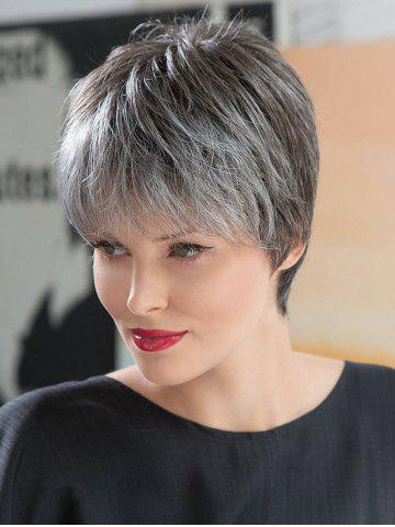 Fancy Short Inclined Bang Straight Colormix Synthetic Wig