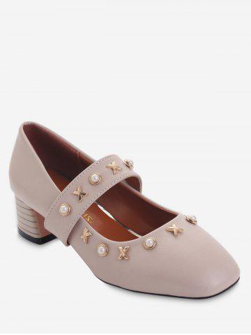 Latest Plus Size Square Toe Faux Pearls Metallic Leisure Pumps
