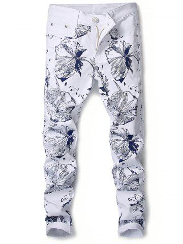 Unique Floral Print Narrow Feet Slimming Jeans
