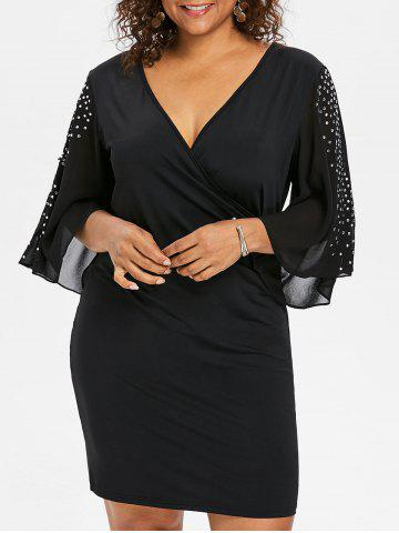 Sale Plus Size Rhinestone Slit Sleeve Fitted Dress