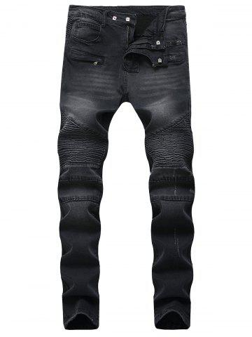 Affordable Multi-pocket Pleated Patchwork Jeans