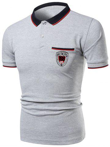 Buy Striped Collar Number Letter Polo Shirt