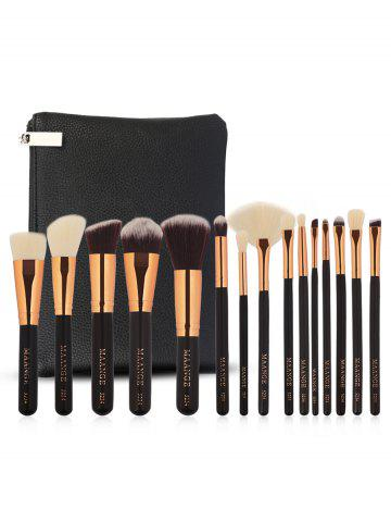 Buy 15Pcs Ultra Soft Fiber Hair Cosmetic Brush Set with Cosmetic Bag