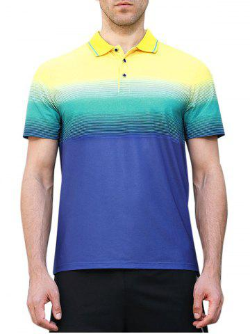 New Horizontal Line Print Fast Dry Breathable Activewear Polo Shirt