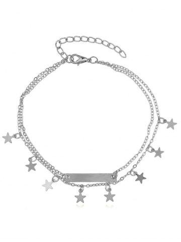 Star Bar Double Layer Chain Anklet - Silver