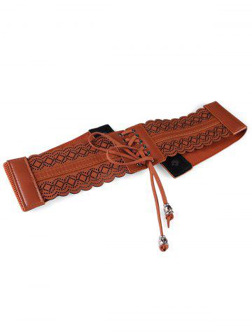 Latest Retro Hollow Out Rhombus Fringed Wide Waist Belt