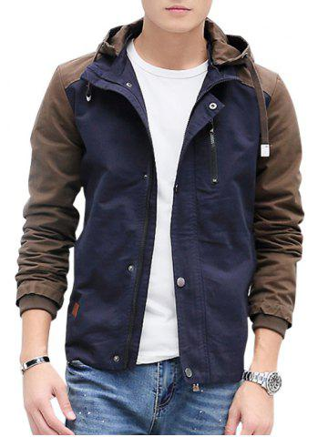 Fancy Zip Up Contrast Color Hooded Jacket