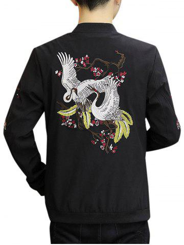 Cheap Zip Up Stand Collar Embroidery Crane Jacket