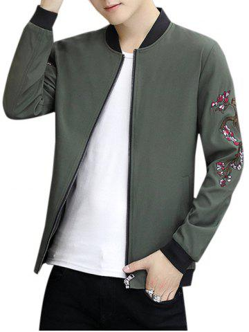 Zip Up Stand Collar Embroidery Crane Jacket - ARMY GREEN - 2XL